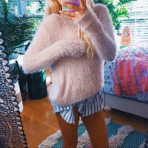 abercrombie + fitch baby pink plush sweater